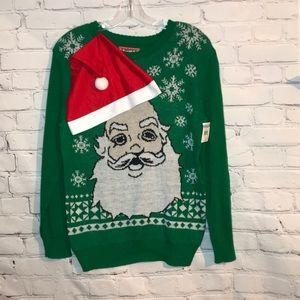 NWT Jem Mohawk Santa Hat Holiday Christmas Sweater